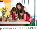 indian mother cooking with her daughters  18934979