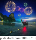 Fireworks above tropical landscape, Thailand 18958713