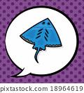 sea animal Stingray doodle, speech bubble 18964619