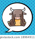 Chinese Zodiac ox doodle, speech bubble 18964911