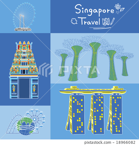 Stock Illustration: vector, singapore flyer, attraction set