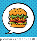 hamburger doodle, speech bubble 18971303