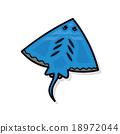 sea animal Stingray doodle 18972044