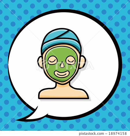 Facial mask doodle, speech bubble 18974158