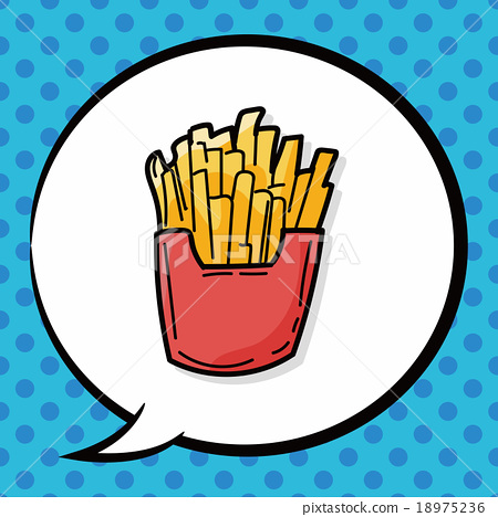 french fries doodle, speech bubble 18975236