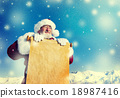 Traditional Santa Claus Paper Scroll Christmas Sign Concept 18987416