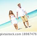 Honeymoon Couple Summer Beach Dating Concept 18987476