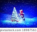 Santa Lamp on a Step-Ladder Christmas Tree Concept 18987561