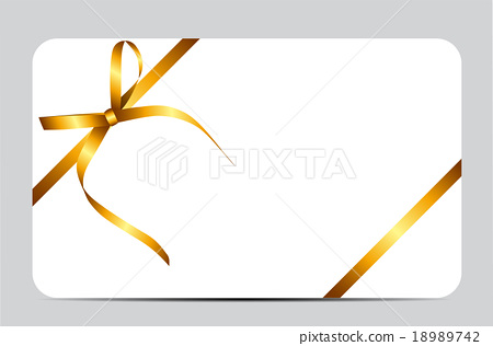 Gift Card With Gold Ribbon And Bow Vector Stock Illustration