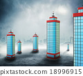 Office buildings in clouds 18996915