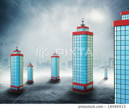 Office buildings in clouds 18996915