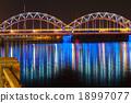 Railway Bridge at night, Riga, Latvia 18997077