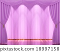 Stage with  pink curtains and spotlight. 18997158
