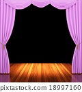 Stage with  pink curtains and spotlight. 18997160