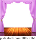 Stage with  pink curtains and spotlight. 18997161