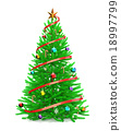 Christmas tree with colorful ornaments 18997799
