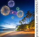 Fireworks above tropical landscape, Thailand 19000927