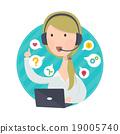 Customer Support Help Desk Woman Blond Hair 19005740