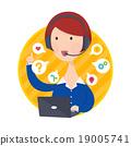 Customer Support Help Desk Woman Blue Shirt 19005741
