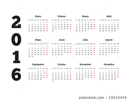 Calendar 2016 year on Spanish language, A4 size 19016449
