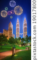 Fireworks above cityscape of Kuala Lumpur  19017800