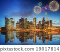 Beautiful fireworks in Marina Bay, Singapore 19017814
