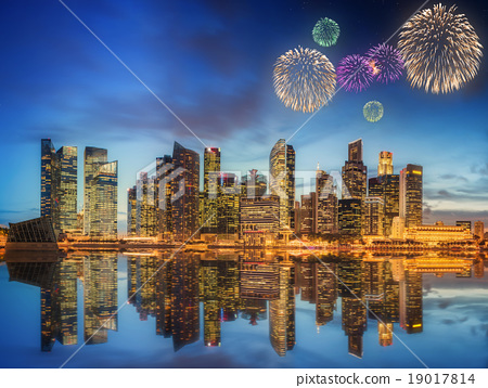 Beautiful fireworks in Marina Bay, Singapore 19017814