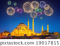 Beautiful fireworks and cityscape of Istanbul 19017815