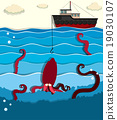 Giant octopus and fishing boat 19030107