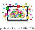 Cloud computing symbol in Digital Tablet pc 19046234