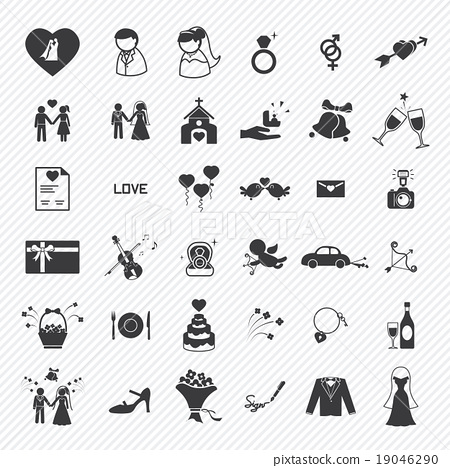 Wedding icons set. illustration eps10 19046290