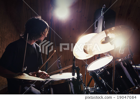Stock Photo: Rock and roll drummer