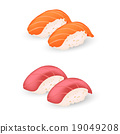 salmon and tuna sushi vector icon 19049208