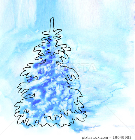 Blue christmas watercolor background with 19049982