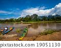 Wood boat in Vang Vieng  Vientiane Laos 19051130
