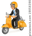 3D Businessman going to work by scooter motorcycle 19056390
