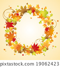 Autumn vector design. Wreath of colorful leaves. 19062423