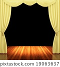 Stage with  yellow curtains and spotlight. 19063637