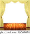 Stage with  yellow curtains and spotlight. 19063638