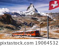 Matterhorn peak with a train in Swiss Alps 19064532