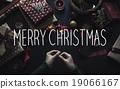 Overhead shot of Christmas presents  19066167