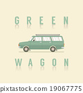 Side View Of Green Wagon. 19067775