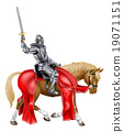 Medieval Sword Knight on Horse 19071151