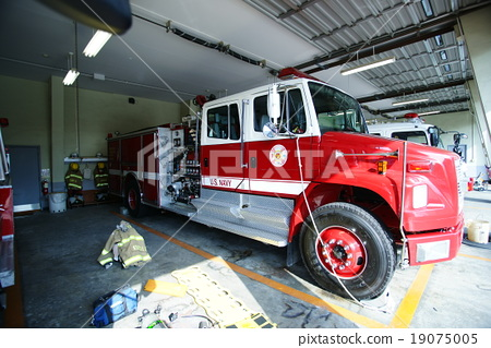 Stock Photo: firetruck, fire-engine, fire station