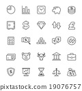 Set of Outline stroke Stock and Finance icons 19076757