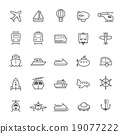 Transport icons Outline Stroke vector 19077222