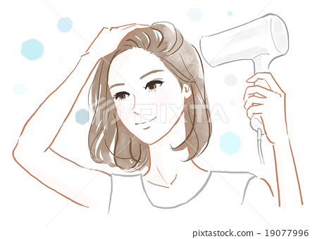 A Woman Drying Her Hair With A Hair Dryer Stock Illustration 19077996 Pixta