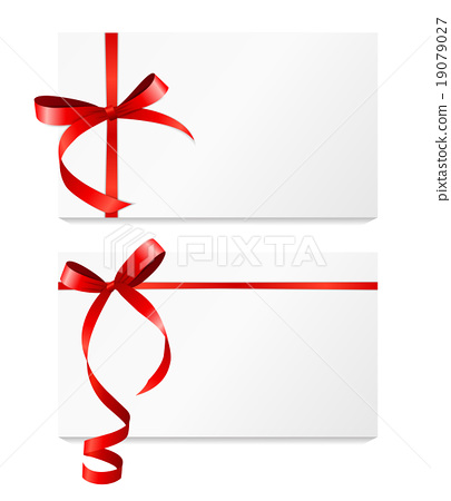 Gift Card With Red Ribbon And Bow Set Vector Stock Illustration