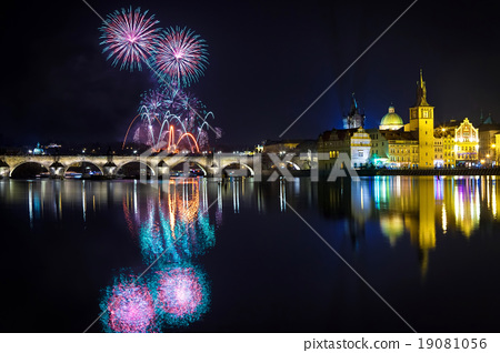 New year Fireworks in Prague, Czech Republick 19081056