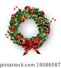 wreath, vector, bow 19086087